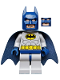 Minifig No: sh025a  Name: Batman - Light Bluish Gray Suit with Yellow Belt and Crest, Dark Blue Mask and Cape  (Type 2 Cowl)