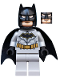 Minifig No: sh552  Name: Batman - Light Bluish Gray Suit with Gold Belt, Black Crest, Mask and Cape (Type 3 Cowl)