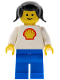 Minifig No: shell004  Name: Shell - Classic - Blue Legs, Black Pigtails Hair