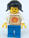 Minifig No: shell004a  Name: Shell - Classic - Blue Legs, Black Pigtails Hair (Stickered Torso)