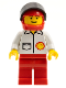 Minifig No: shell007  Name: Shell - Jacket, Red Legs, Red Helmet, Black Visor