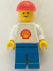 Minifig No: shell014  Name: Shell - Classic - Blue Legs, Red Construction Helmet, Shell Logo Sticker