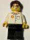 Minifig No: shell015  Name: Shell - White Torso (Sticker), Black Legs, Dark Brown Short Tousled Hair, Glasses