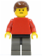 Minifig No: soc005  Name: Plain Red Torso with Red Arms, Dark Gray Legs, Brown Male Hair