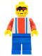Minifig No: soc017  Name: Soccer Player Red & Blue Team  #3 on Back