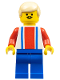 Minifig No: soc029  Name: Soccer Player Red & Blue Team  #9 on Back and Tan Hair
