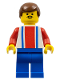 Minifig No: soc049  Name: Soccer Player Red & Blue Team  #4 on Back