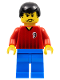 Minifig No: soc066  Name: Soccer Player Red/Blue Team with shirt  #9