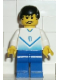 Minifig No: soc083  Name: Soccer Player White & Blue Team with shirt  #9