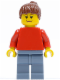 Minifig No: soc115  Name: Plain Red Torso with Red Arms, Sand Blue Legs, Reddish Brown Ponytail Hair (Soccer Fan)
