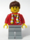 Minifig No: soc115s  Name: Soccer Fan Red - Sand Blue Legs, Striped Scarf and Dots Pattern Torso Sticker (3569)