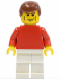 Minifig No: soc120  Name: Plain Red Torso with Red Arms, White Legs, Reddish Brown Male Hair (Soccer Player)