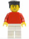 Minifig No: soc122  Name: Plain Red Torso with Red Arms, White Legs, Black Flat Top Hair, Smirk and Stubble Beard (Soccer Player)