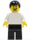 Minifig No: soc124  Name: Plain White Torso with White Arms, Black Legs, Black Male Hair (Soccer Player)