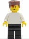 Minifig No: soc125  Name: Plain White Torso with White Arms, Black Legs, Reddish Brown Flat Top Hair (Soccer Player)