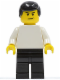 Minifig No: soc126  Name: Plain White Torso with White Arms, Black Legs, Black Male Hair (Soccer Player)