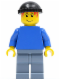 Minifig No: soc129  Name: Plain Blue Torso with Blue Arms, Sand Blue Legs, Black Knit Cap (Soccer Player)