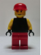 Minifig No: soc130  Name: Plain Black Torso with Yellow Arms, Black Hands, Red Legs, Red Cap (Soccer Goalie)