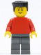 Minifig No: soc131  Name: Plain Red Torso with Red Arms, Dark Bluish Gray Legs, Black Flat Top Hair (Soccer Player)