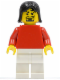 Minifig No: soc133  Name: Plain Red Torso with Red Arms, White Legs, Black Female Hair, Moustache (Soccer Player)