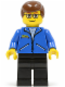 Minifig No: spd002  Name: Peter Parker 1 - Jacket Blue, Black Legs, Brown Male Hair