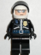 Minifig No: spd003  Name: Police - Highway Patrolman, Black Shirt w/Badge and Radio, Black Legs, White Helmet