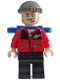 Minifig No: spd018  Name: Jewel Thief 1, Red Torso w/ Space Logo, Black Legs