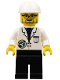 Minifig No: spp011  Name: Space Port - Scientist, White Construction Helmet, Black Legs