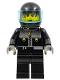 Minifig No: stu008  Name: Male Actor 3, Driver, Black Helmet, Trans-Light Blue Visor