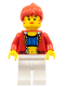 Minifig No: stu010a  Name: Female with Crop Top and Navel Pattern - LEGO Logo on Back, Red Hair