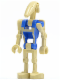 Minifig No: sw0360  Name: Battle Droid Pilot with Blue Torso with Tan Insignia and One Straight Arm