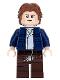 Minifig No: sw0879  Name: Han Solo, Dark Brown Legs with Holster Pattern, Dark Blue Jacket, Wavy Hair