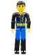 Minifig No: tech002  Name: Technic Figure Blue Legs, Black Top with Zippered Wetsuit Pattern (Diver)