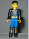Minifig No: tech002s  Name: Technic Figure Blue Legs, Black Top with Zippered Wetsuit and Knife and 'Diving' Pattern (Stickers) - Diver