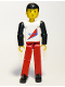 Minifig No: tech004  Name: Technic Figure Red Legs, White Top with Red Triangle, Black Arms
