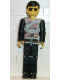 Minifig No: tech012  Name: Technic Figure Black Legs, Light Gray Top with 2 Brown Belts, Black Arms