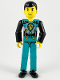 Minifig No: tech013  Name: Technic Figure Dark Turquoise Legs, Dark Turquoise Torso with Yellow, Black, Silver Pattern, Black Arms