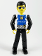 Minifig No: tech019  Name: Technic Figure Black Legs, White Top with Police Logo, Black Arms