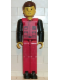 Minifig No: tech028  Name: Technic Figure Red Legs, Red Top with Black Pattern, Black Arms, Brown Hair