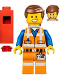Minifig No: tlm026  Name: Emmet - Wide Smile, with Piece of Resistance and Plate on Leg