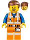 Minifig No: tlm072  Name: Emmet - Wide Smile with Teeth and Tongue