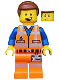 Minifig No: tlm096  Name: Emmet - Lopsided Open Mouth Smile (70818)