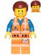 Minifig No: tlm125  Name: Emmet - Smile / Scared, Worn Uniform