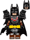 Minifig No: tlm130  Name: Batman - Battle Ready, Tire Armor, Tattered Cape, Yellow Utility Belt, Reddish Brown Boots