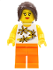 Minifig No: tls069  Name: Lego Brand Store Female, Yellow Flowers (no back printing) {Sheffield}