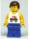 Minifig No: trc006  Name: Trucker - Blue Legs, Brown Male Hair