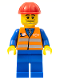 Minifig No: trn002  Name: Orange Vest with Safety Stripes - Blue Legs, Beard Stubble, Red Construction Helmet