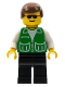 Minifig No: trn111  Name: Jacket Green with 2 Large Pockets - Black Legs, Brown Male Hair