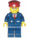 Minifig No: trn115  Name: Dark Blue Suit with Train Logo, Dark Blue Legs, Dark Red Hat, Rectangular Glasses - Passenger Train Engineer