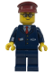 Minifig No: trn115a  Name: Dark Blue Suit with Train Logo, Dark Blue Legs, Dark Red Hat, Rounded Glasses - Tram Driver